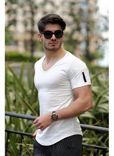 Cool Wear Cool&Wear 12101 Basic V Yaka Fermuar Detaylı Beyaz T-Shirt Beyaz